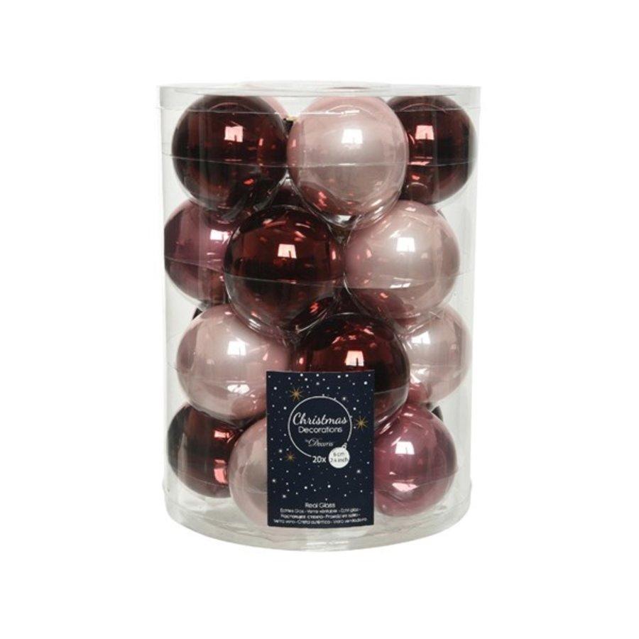 Set/20 glazen kerstballen dia 6cm, oxblood/poederroze/velvet pink-1