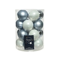 Set/20 glazen kerstballen dia 6cm mix winterwit/wintersky
