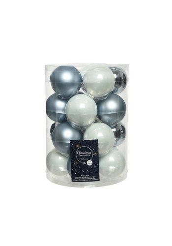 Decoris Set/20 glazen kerstballen dia 6cm mix winterwit/wintersky