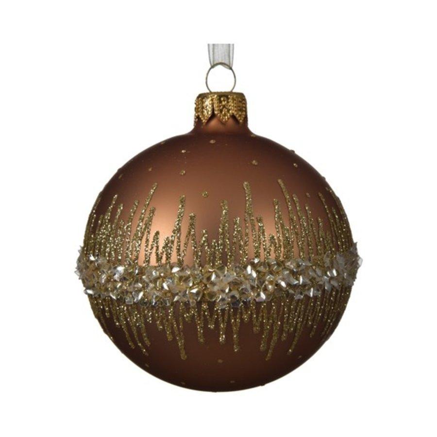 Kerstbal glas bewerkt /6 dia 8cm Camel-1