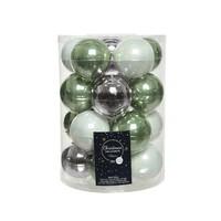 Set/20 glazen kerstballen dia 6cm mix saliegroen/lila/winterwit