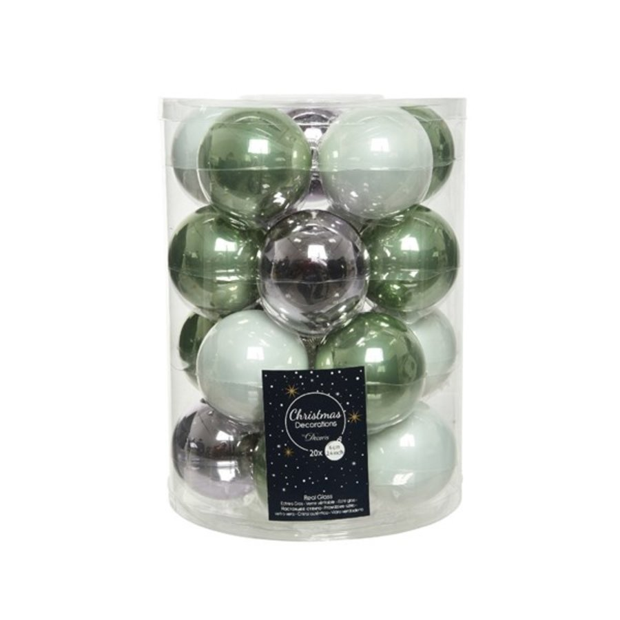 Set/20 glazen kerstballen dia 6cm mix saliegroen/lila/winterwit-1