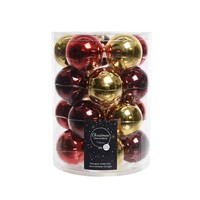 Set/20 glazen kerstballen dia 6cm mix goud/kerstrood/oxblood