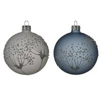 Kerstbal glas bewerkt/6 dia 8cm winter sky