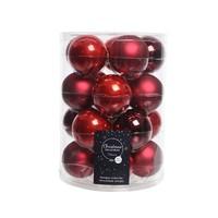 Set/20 glazen kerstballen dia 6cm mix kerstrood/oxblood