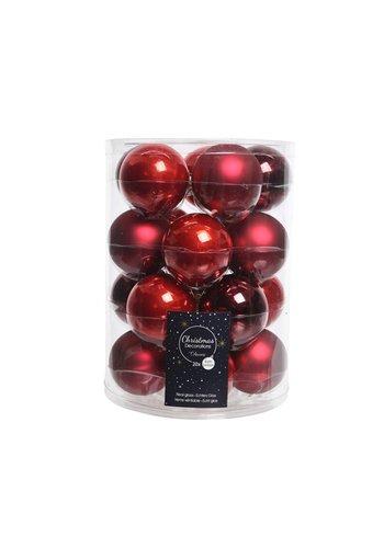 Decoris Set/20 glazen kerstballen dia 6cm mix kerstrood/oxblood