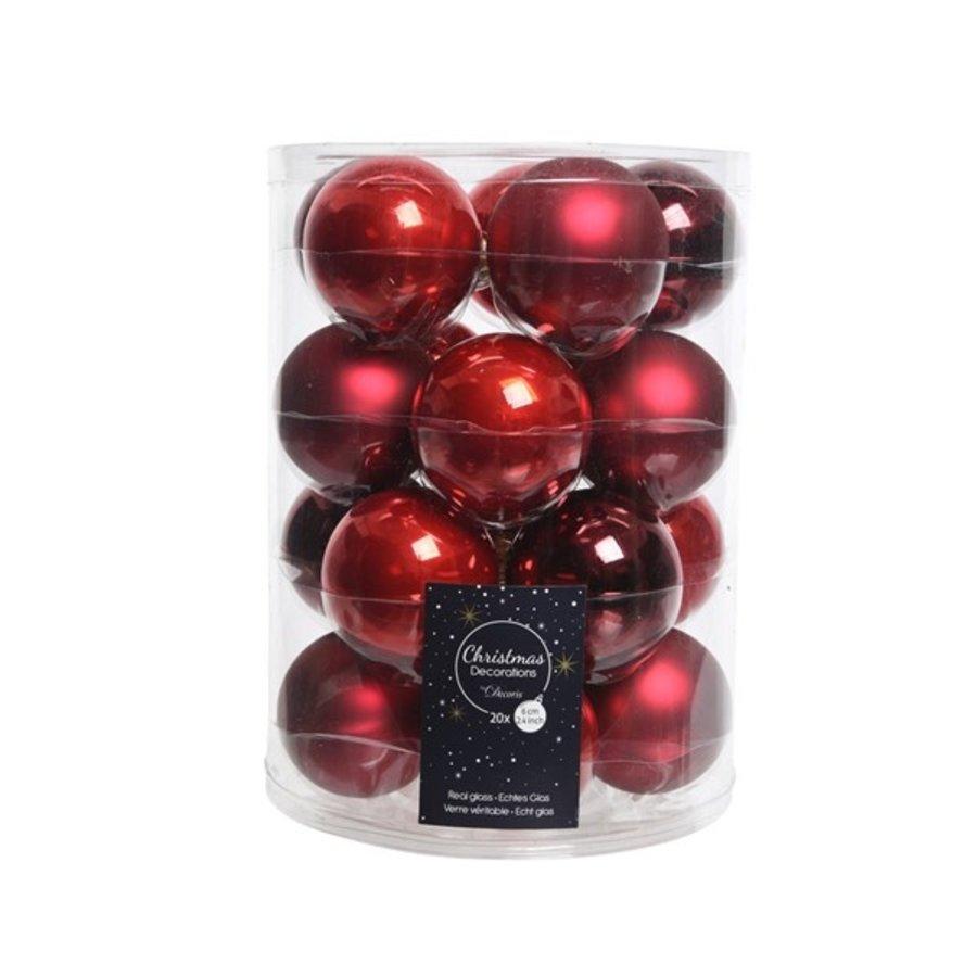 Set/20 glazen kerstballen dia 6cm mix kerstrood/oxblood-1