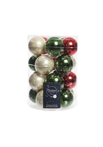 Decoris Set/20 glazen kerstballen dia 6cm mix dennengroen/parel/kerstrood