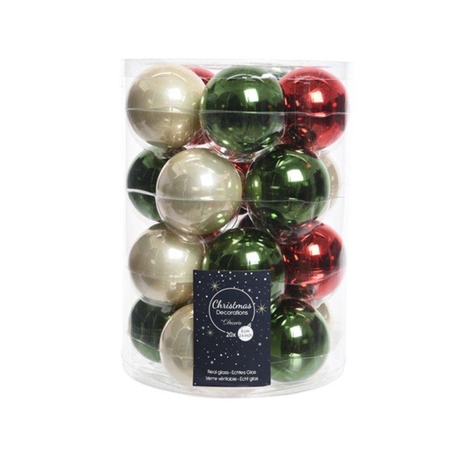 Set/20 glazen kerstballen dia 6cm mix dennengroen/parel/kerstrood-1