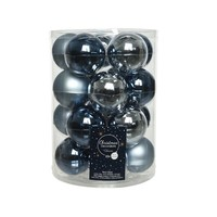 Set/20 glazen kerstballen dia 6cm mix wintersky/nightblue