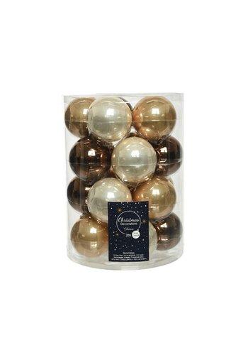 Decoris Set/20 glazen kerstballen dia 6cm mix camelbruin/donkerbruin