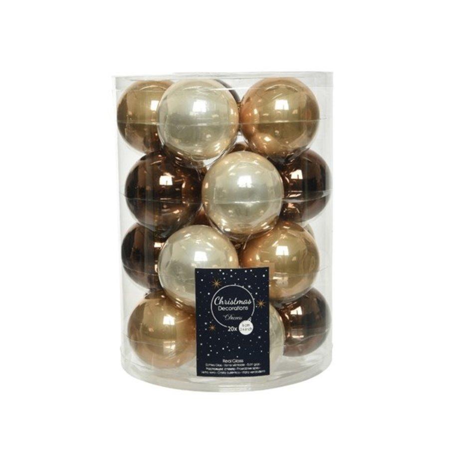 Set/20 glazen kerstballen dia 6cm mix camelbruin/donkerbruin-1