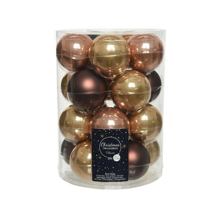 Set/20 glazen kerstballen dia 6cm mix camelbruin/donkerbruin/soft terra-1