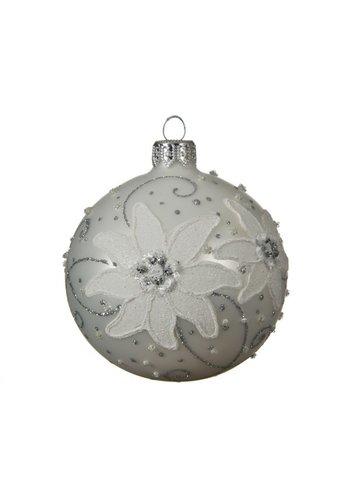 Kerstbal glas bewerkt dia 8cm winter wit