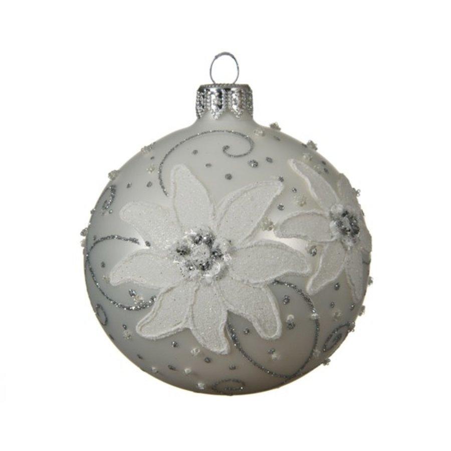 Kerstbal glas bewerkt dia 8cm winter wit-1