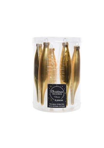 Decoris Set/6 glazen pegels goud mat/blinkend