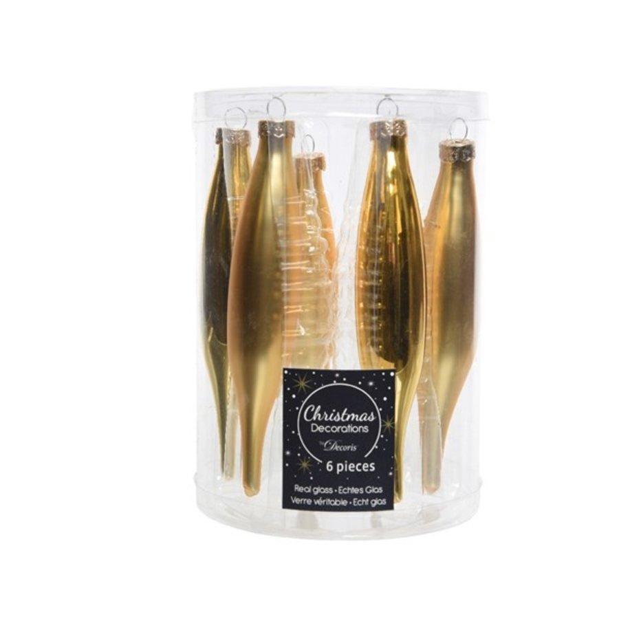 Set/6 glazen pegels goud mat/blinkend-1