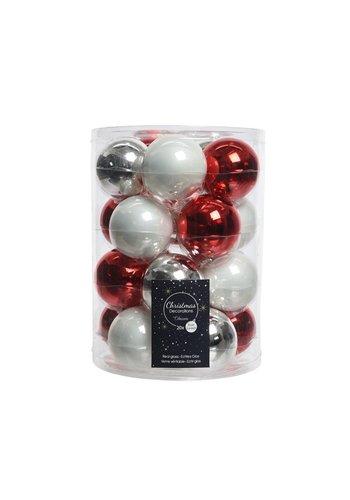 Decoris Set/20 glazen kerstballen dia 6cm mix rood/zilver/wit