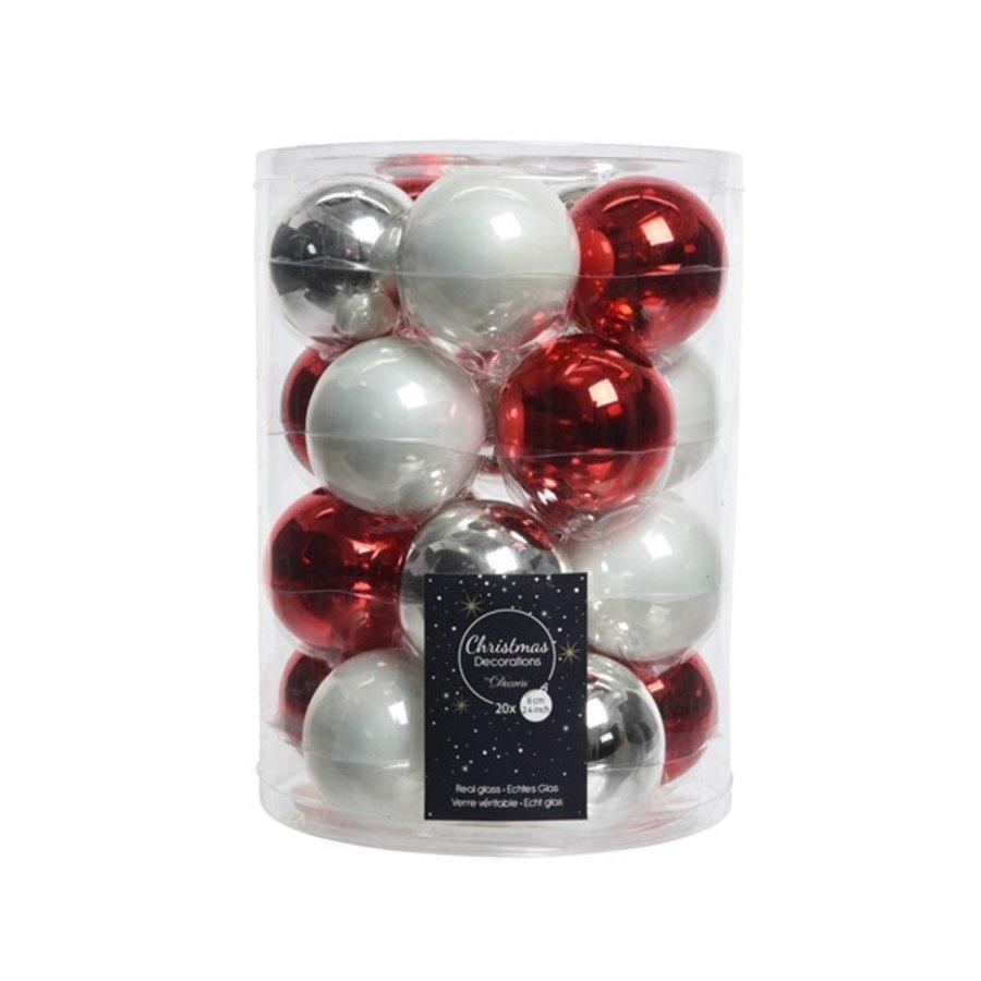 Set/20 glazen kerstballen dia 6cm mix rood/zilver/wit-1