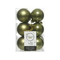 Kerstballen plastic/12 dia 6cm, mosgroen