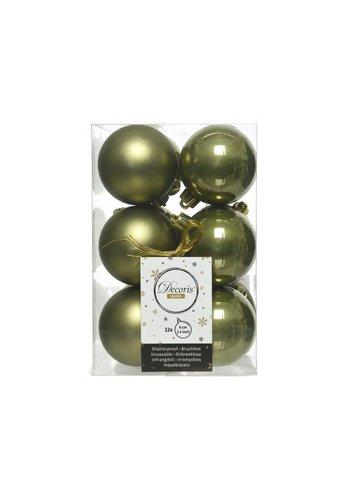 Decoris Kerstballen plastic/12 dia 6cm, mosgroen