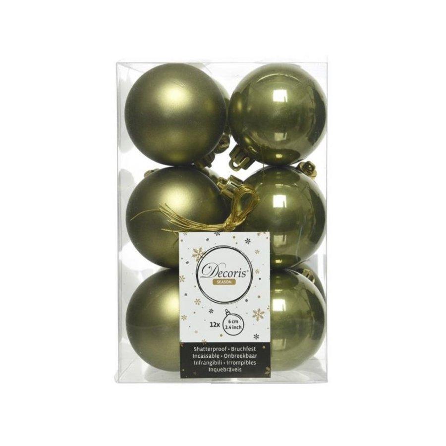 Kerstballen plastic/12 dia 6cm, mosgroen-1