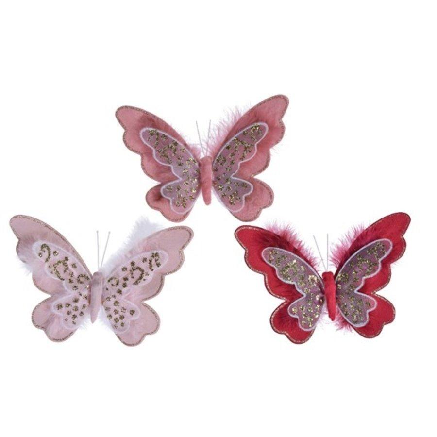 Vlinder met veer op clip, 12cm-1