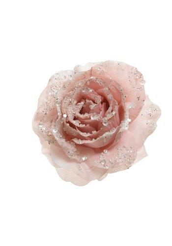 Decoris Roos op clip met glitter, 14cm, roze