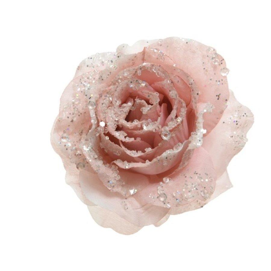 Roos op clip met glitter, 14cm, roze-1
