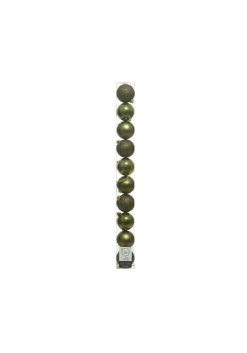 Decoris Set/10 onbreekbare kerstballen dia 6cm mosgroen