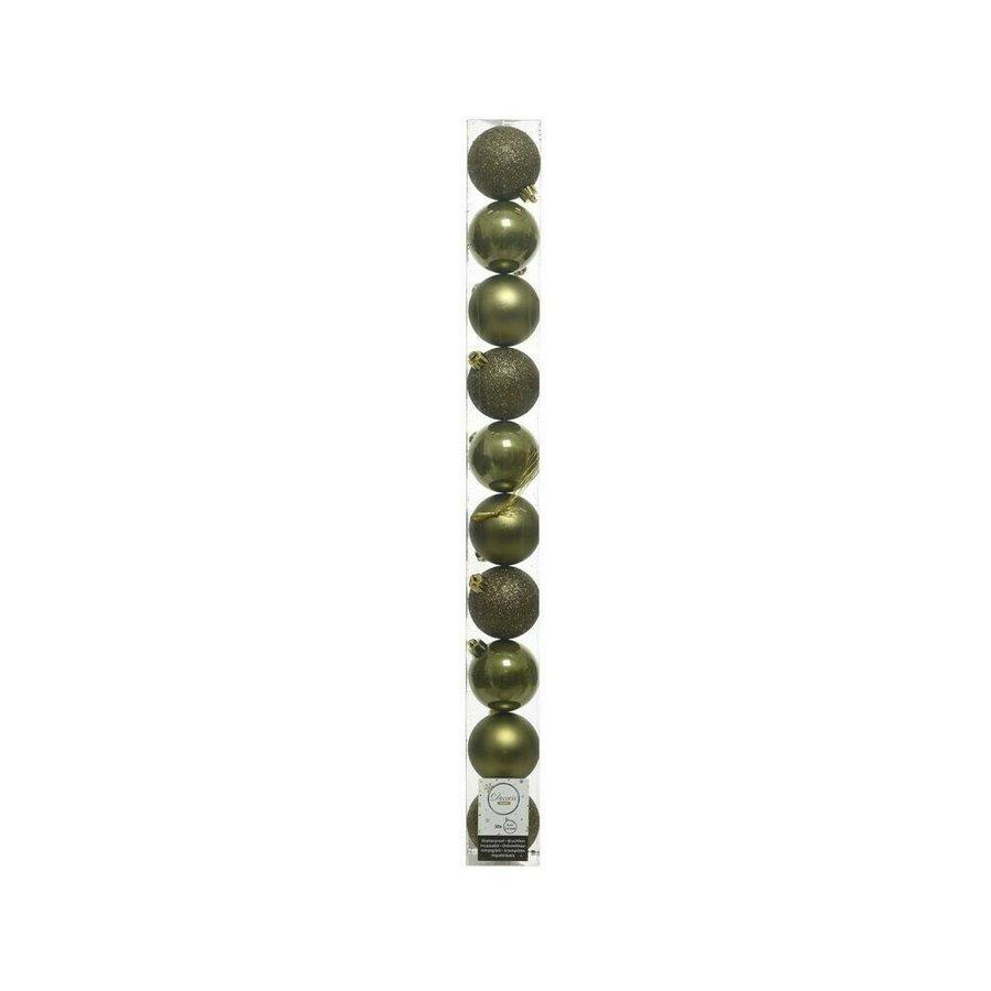 Set/10 onbreekbare kerstballen dia 6cm mosgroen-1