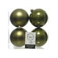 Set/4 onbreekbare kerstballen dia 10cm mosgroen