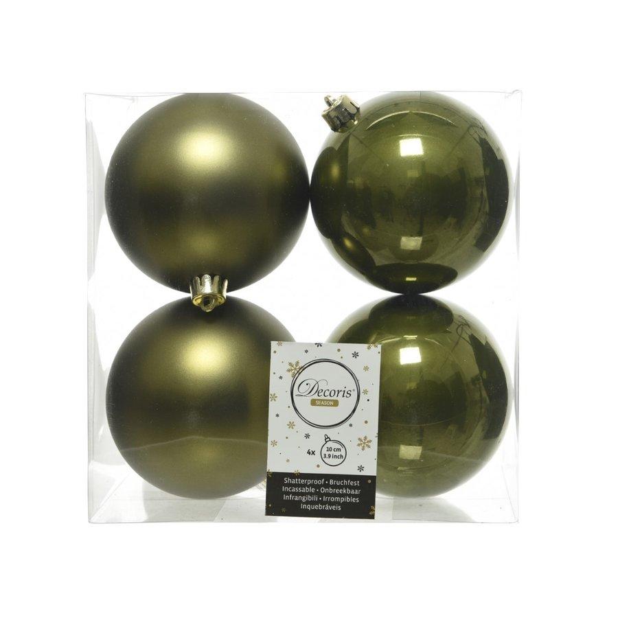 Set/4 onbreekbare kerstballen dia 10cm mosgroen-1