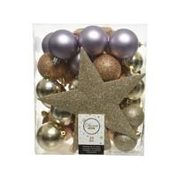 Set/33 onbreekbare kerstballen + piek Under The Stars