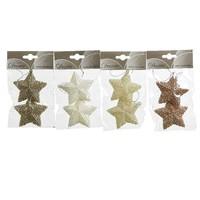 Set/2 sterren met hanger, 7.5cm