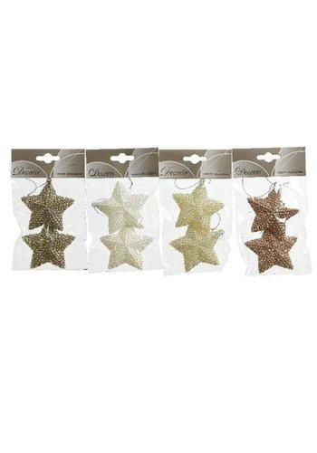 Decoris Set/2 sterren met hanger, 7.5cm