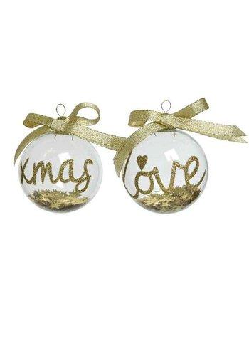 Decoris Kerstbal glas dia 8cm, gevuld met sterretjes