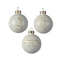 Kerstbal glas dia 6cm, met tekst