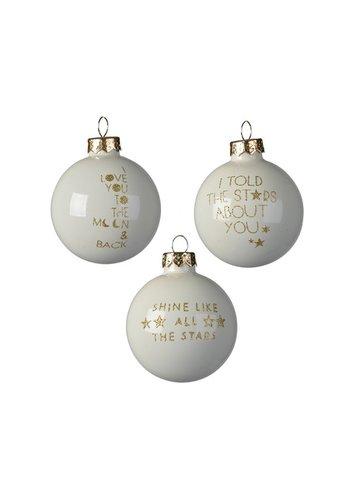 Decoris Kerstbal glas dia 6cm, met tekst