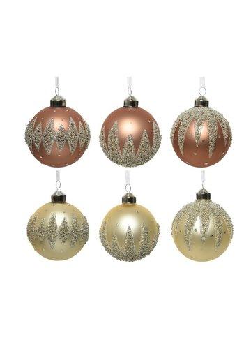 Decoris Kerstbal glas, dia 8cm, met kraaltjes