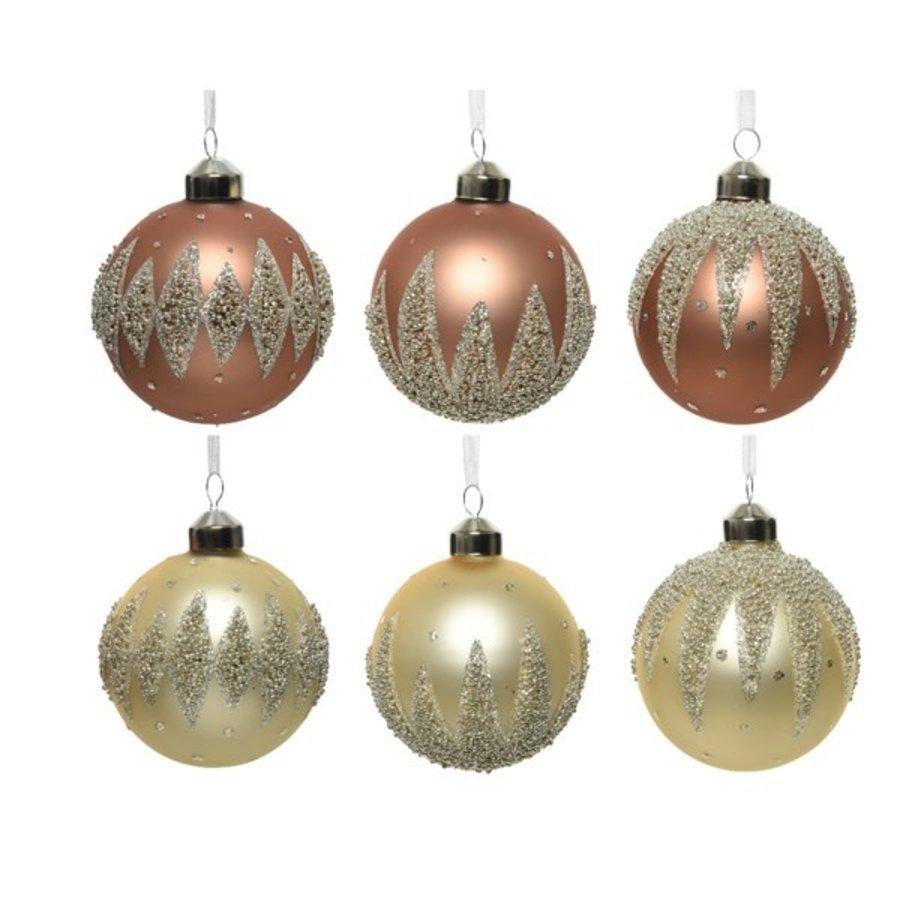 Kerstbal glas, dia 8cm, met kraaltjes-1
