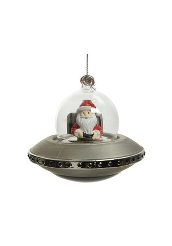 Decoris Ruimteschip glas, met kerstman