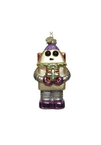 Decoris Robot met cadeau, glas met hanger