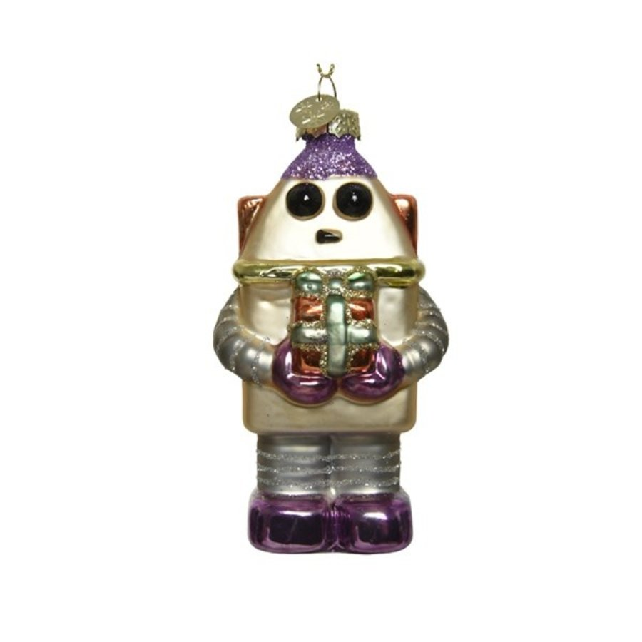 Robot met cadeau, glas met hanger-1