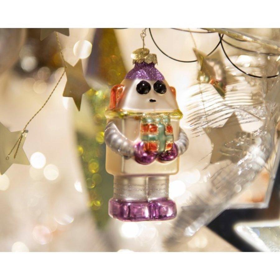Robot met cadeau, glas met hanger-2