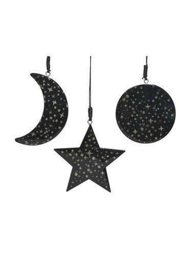 Decoris Kerstfiguur met hanger, zwart