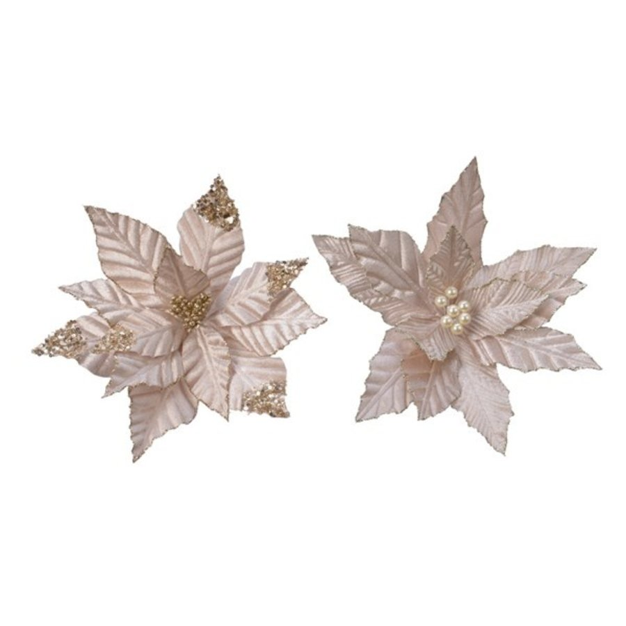 Poinsettia op clip, polyester, champagne-1