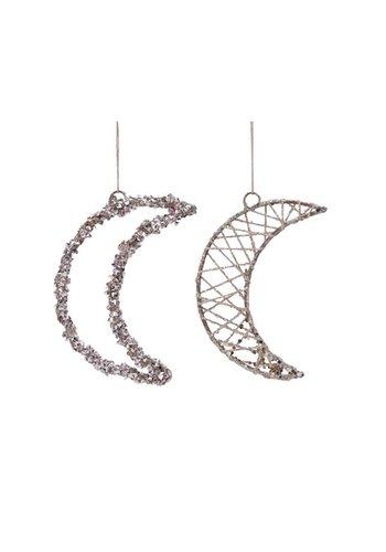Decoris Maan ijzer met hanger, 11cm, champagne
