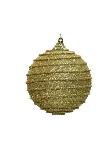 Decoris Kerstbal foam dia 8cm, ribbel goud