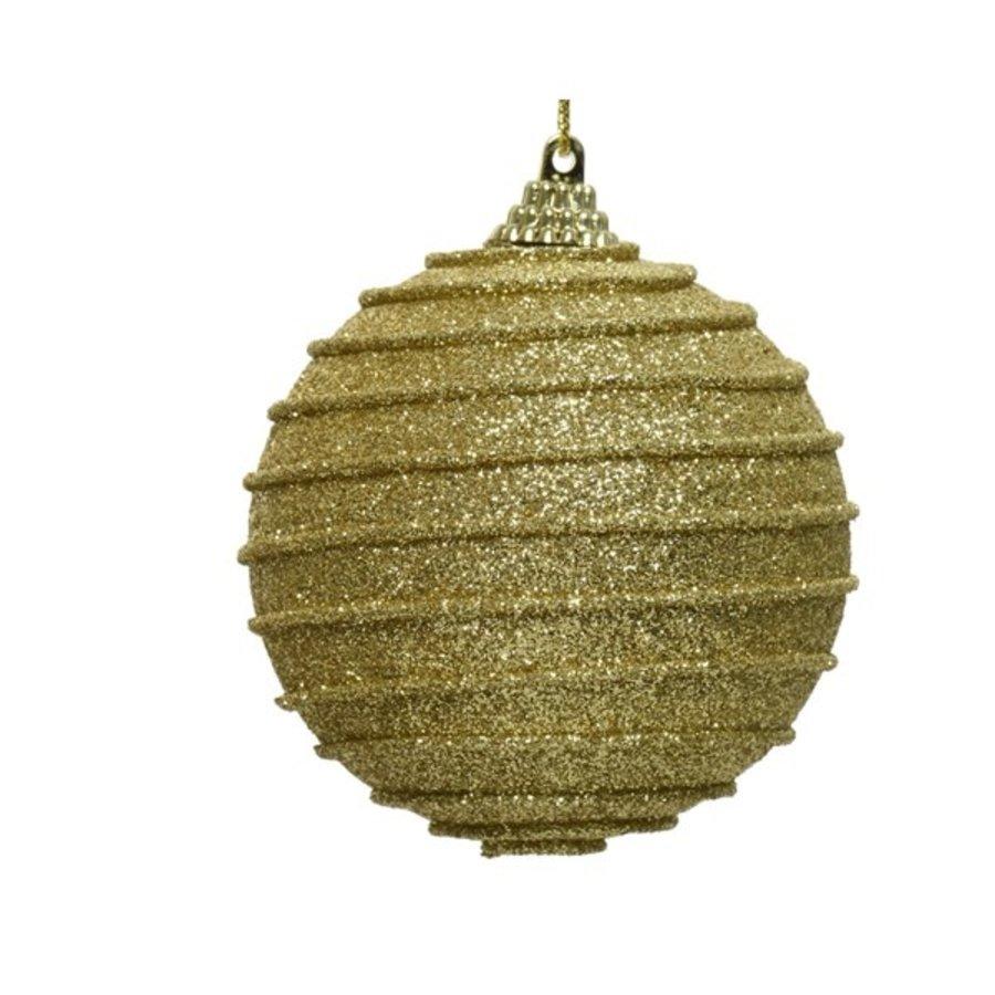 Kerstbal foam dia 8cm, ribbel goud-1
